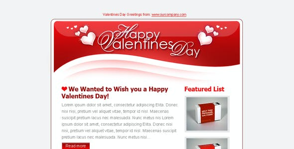 Valentines Day Clean Tri-color Email Templates