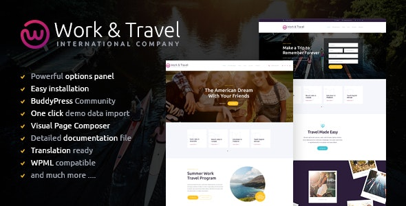 Work & Travel Company & Youth Programs WordPress Theme - Corporate WordPress