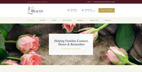 Beacon | Funeral Home Services & Cremation Parlor WordPress Theme