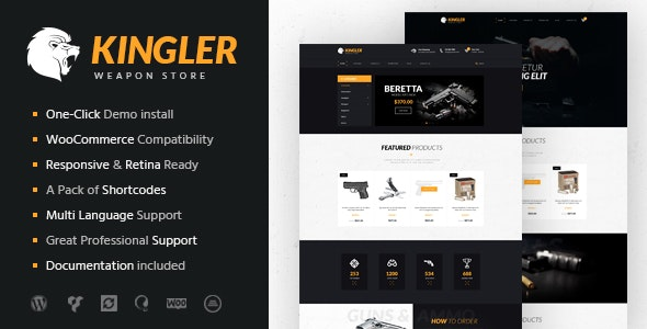 Kingler | Weapon Store & Gun Training WordPress Theme - WooCommerce eCommerce