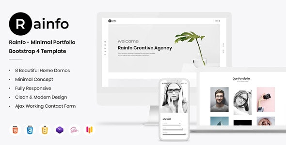 Rainfo - Minimal Creative Portfolio For Freelancers Agencies - Portfolio Creative