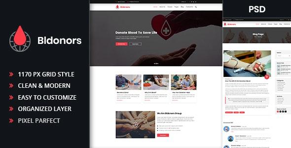 Bldonors - Activism & Blood Donation Campaign PSD Template - Activism Nonprofit