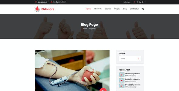 Bldonors - Activism & Blood Donation Campaign PSD Template
