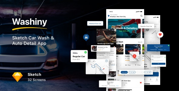 Washiny - Sketch Car Wash & Auto Detail App - Sketch UI Templates