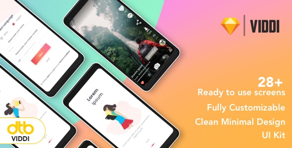 DTB-VIDDI - Video App UI Kit - 28+ Ready to use screens - Sketch UI Templates