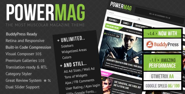 Download PowerMag: The Most Muscular Magazine/Reviews Theme