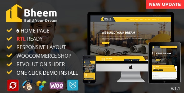 Bheem : Construction Industry Agency WordPress Theme with RTL Ready - WordPress