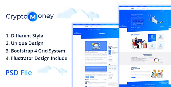 CryptoMoney - Crypto Currency Template - Corporate Photoshop