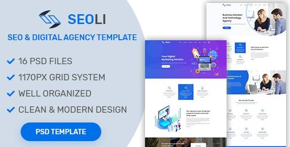 SEOLI- SEO and Digital Agency PSD Template - Creative Photoshop