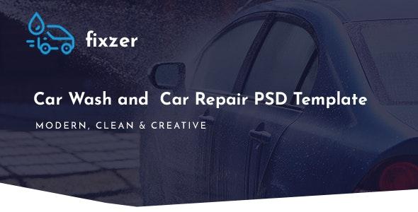 Fixzer - Car Wash & Car Repair PSD Template - Business Corporate
