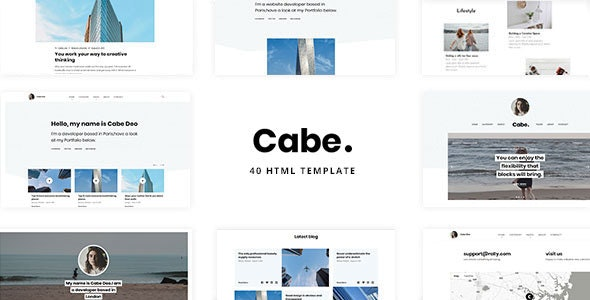 Cabe - Minimal and Clean Personal Blog Template - Personal Site Templates