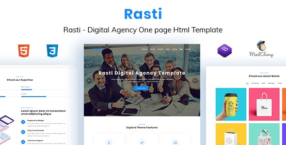Rasti - Digital Agency One Page HTML Template - Technology Site Templates