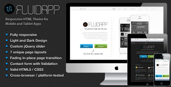 FluidApp - Responsive Mobile App Website Template - Software Technology