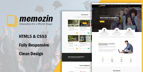 Memozin - Education Courses School Template - Business Corporate