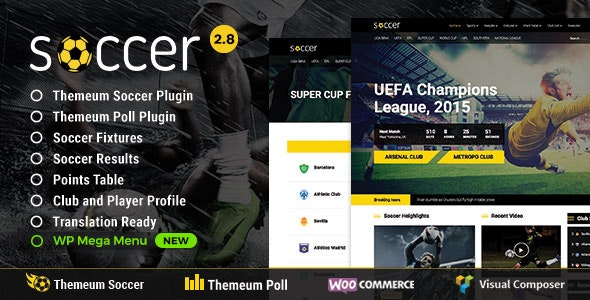 Soccer - Sport WordPress Theme with poll, fixture, result, points table, profile feature - Nonprofit WordPress