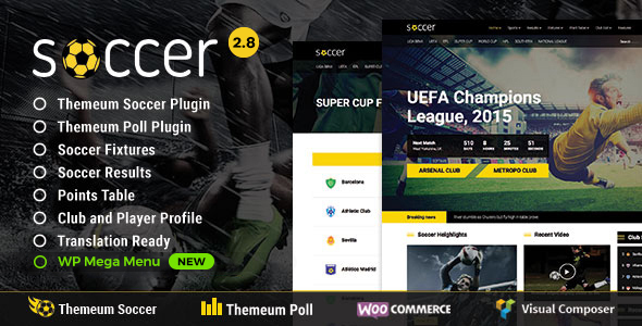 Soccer – Sport WordPress Theme with poll, fixture, result, points table, profile feature