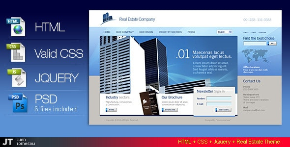 Html + CSS + jquery Real Estate theme - Corporate Site Templates