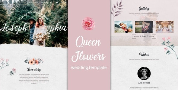 Queen Flowers - Wedding Template - Wedding Site Templates