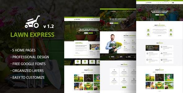 LawnExpress : Lawn, Gardening & Landscape PSD Template - Business Corporate