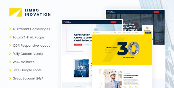 Limbo-Construction Building HTML Template - Business Corporate