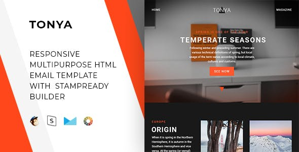 Tonya – Responsive Email + StampReady, MailChimp & CampaignMonitor compatible files