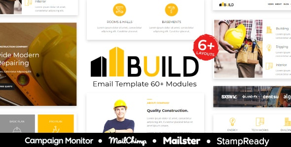 Build - Construction & Building Responsive Email Template - StampReady + Mailster & Mailchimp - Newsletters Email Templates