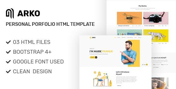 Arko - Personal Portfolio HTML Template
