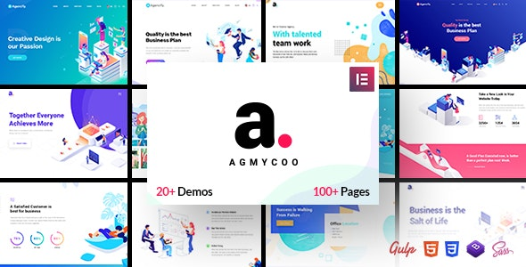 Agmycoo - Isometric Startup Creative Digital Agency WordPress Theme - Business Corporate