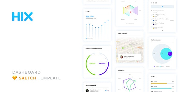 HIX – Dashboard UI Kit for Sketch - Sketch UI Templates