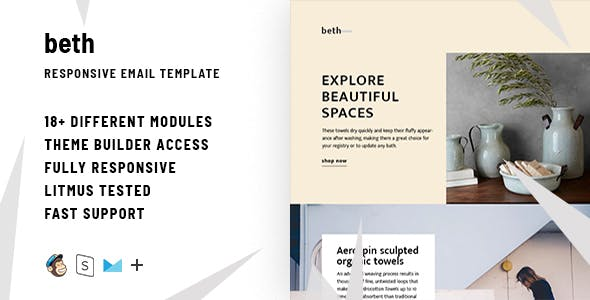 Beth  – Responsive HTML Email + StampReady, MailChimp & CampaignMonitor compatible files