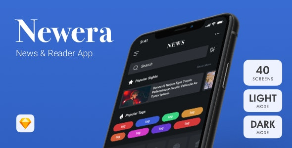 Newera - News App Sketch Template - Sketch UI Templates