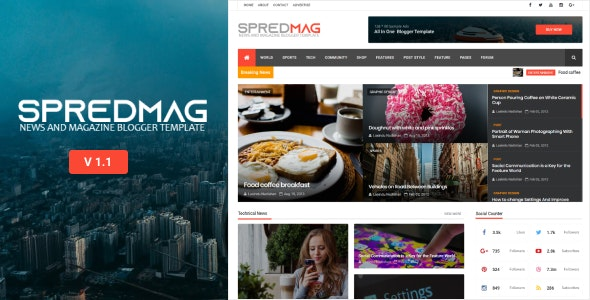 SpredMag Responsive Magazine Blogger Template - Blogger Blogging
