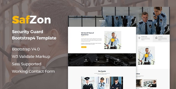 SafZon - Security Guard HTML Template - Business Corporate