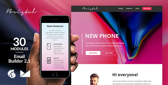 Bristol Responsive Email Template + Online Emailbuilder 2.1 - Newsletters Email Templates