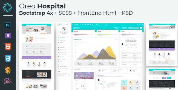 Oreo Hospital - Bootstrap 4x admin + FrontEnd HTML with PSD - Admin Templates Site Templates