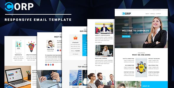 Corp - Responsive Email Template with Online StampReady & Mailchimp Editors