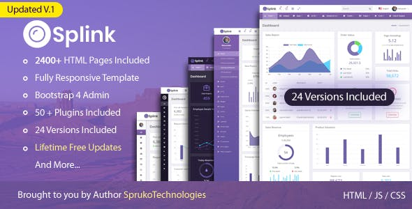 Splink – Admin Bootstrap 4 Responsive Webapp Dashboard Template