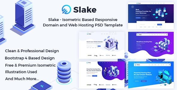Slake - Isometric Based Responsive Domain and Web Hosting PSD Template - Hosting Technology