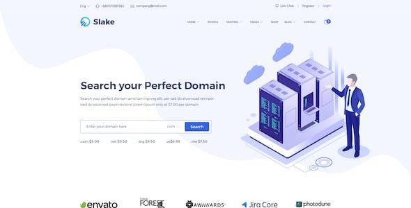 Slake - Isometric Based Responsive Domain and Web Hosting PSD Template