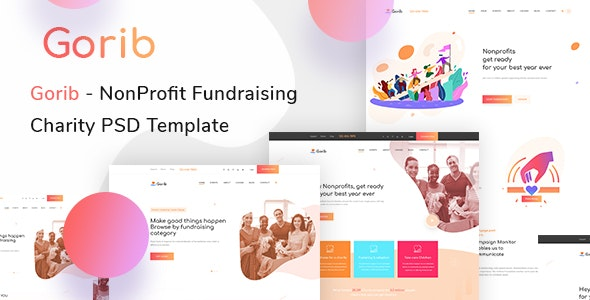 Gorib - Creative NonProfit Fundraising Charity PSD Template - Charity Nonprofit