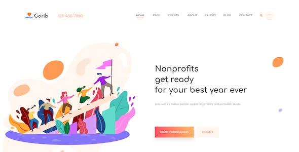Gorib - Creative NonProfit Fundraising Charity PSD Template