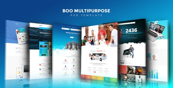 Boo | Creative - Cloud Hosting - University - eCommerce - Mobile App - Personal - Lawyer PSD - Corporate Photoshop