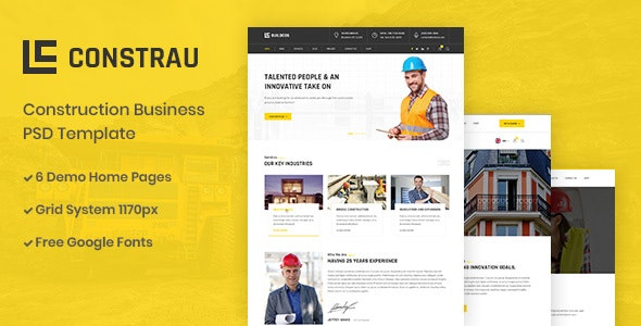 Constrau - Construction Business PSD Template - Business Corporate