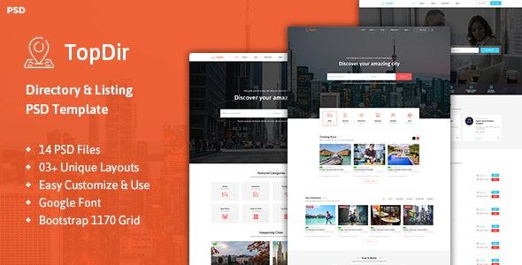 TopDir - Directory & Listing PSD Template - Photoshop UI Templates
