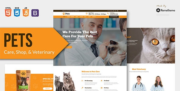 PETS - Pet Care, Shop, and Veterinary HTML Template - Retail Site Templates
