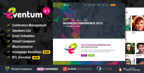 Eventum – Conference & Event WordPress Theme with Ticket Selling Feature
