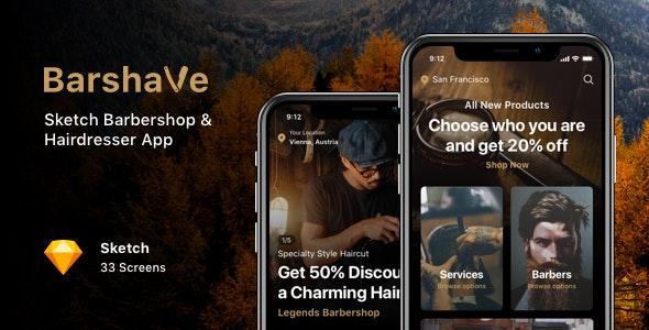 Barshave - Sketch Barbershop & Hairdresser App - Sketch UI Templates