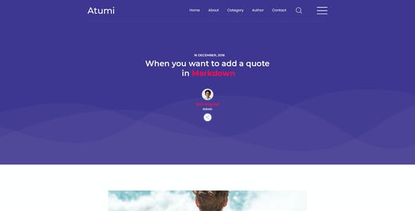 Atumi - Minimal Blog PSD Template
