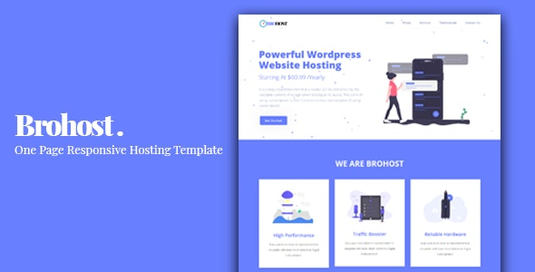 Brohost - One Page Responsive Hosting Template - Hosting Technology