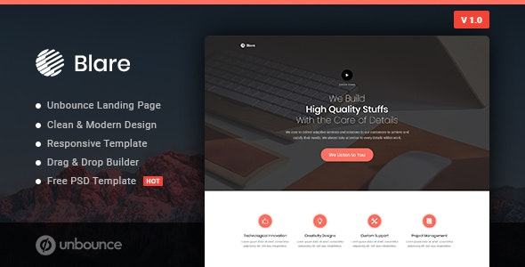 Blare Business Unbounce Landing Page Template By Morad